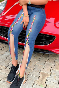 Medium Blue Street Solid Split Joint Frenulum Slit High Waist Skinny Denim Jeans