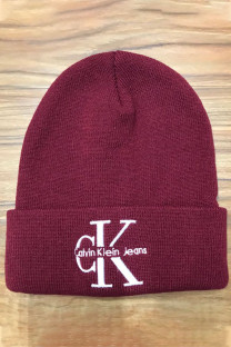 Dark Red Fashion Street Embroidery Split Joint Hat