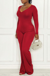 Red Casual Solid Split Joint V Neck Straight Jumpsuits(Without Belt)
