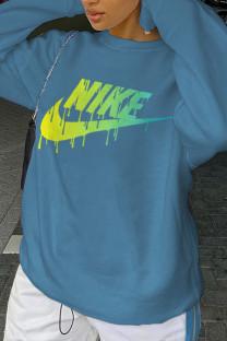 Blue Fashion Sportswear Print Split Joint O Neck Tops