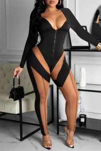 Black Fashion Casual Patchwork See-through V Neck Skinny Jumpsuits