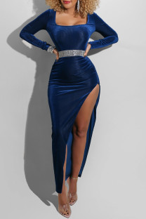 Blue Fashion Sexy Solid Slit Square Collar Long Sleeve Dresses