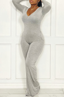 Grey Casual Solid Split Joint V Neck Straight Jumpsuits(Without Belt)