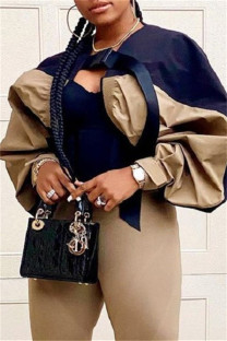 Khaki Fashion Casual Patchwork Cardigan Outerwear
