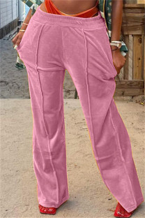 Pink Fashion Casual Solid Basic Regular Mid Waist Conventional Solid Color Bottoms