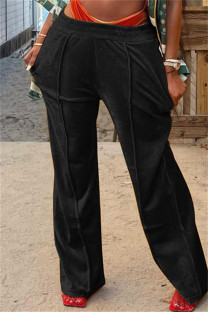 Black Fashion Casual Solid Basic Regular Mid Waist Conventional Solid Color Bottoms