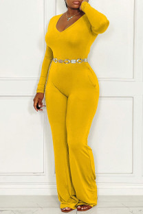 Yellow Casual Solid Split Joint V Neck Straight Jumpsuits(Without Belt)