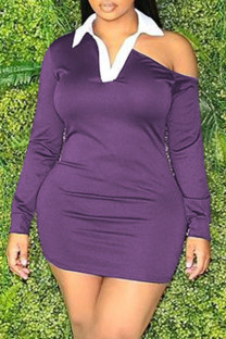 Purple Fashion Casual Solid Hollowed Out Split Joint Turndown Collar Long Sleeve Dresses