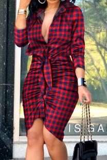 Red Sexy Print Split Joint Buckle Fold Asymmetrical Turndown Collar Shirt Dress Dresses