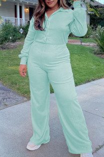 Mint green Casual Solid Split Joint Buckle Turndown Collar Plus Size Jumpsuits
