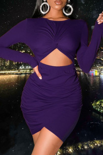 Purple Sexy Solid Hollowed Out Split Joint Fold O Neck One Step Skirt Dresses