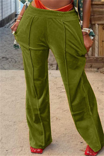 Green Fashion Casual Solid Basic Regular Mid Waist Conventional Solid Color Bottoms