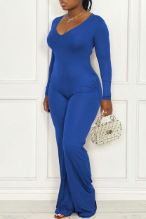 Blue Casual Solid Split Joint V Neck Straight Jumpsuits(Without Belt)