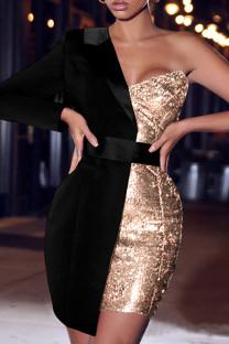 Black Elegant Solid Split Joint Asymmetrical  Sequins Asymmetrical Collar One Step Skirt Dresses