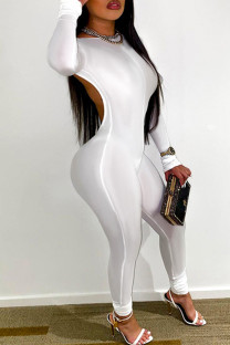 White Sexy Casual Solid Backless O Neck Skinny Jumpsuits