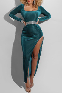 Lake Blue Fashion Sexy Solid Slit Square Collar Long Sleeve Dresses