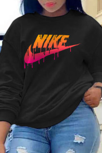 Black Fashion Sportswear Print Split Joint O Neck Tops