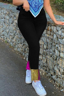 Black Casual Print Split Joint Skinny Denim Jeans