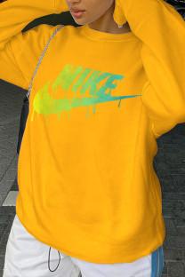 Yellow Fashion Sportswear Print Split Joint O Neck Tops