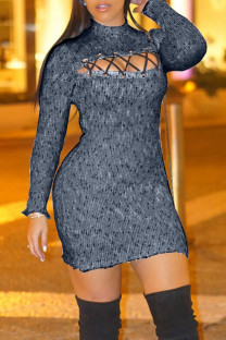 Grey Sexy Hollowed Out Split Joint Half A Turtleneck Pencil Skirt Dresses