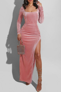 Pink Fashion Sexy Solid Slit Square Collar Long Sleeve Dresses