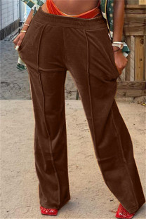 Dark Brown Fashion Casual Solid Basic Regular Mid Waist Conventional Solid Color Bottoms