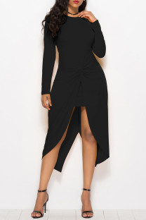 Black Casual Solid Split Joint Fold Asymmetrical O Neck Straight Dresses
