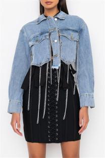 Light Color Fashion Casual Patchwork Chains Turndown Collar Long Sleeve Regular Denim Jacket