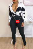 White Fashion Casual Print Slit V Neck Long Sleeve Two Pieces