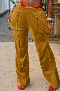 Yellow Fashion Casual Solid Basic Regular Mid Waist Conventional Solid Color Bottoms
