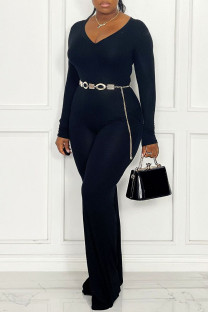 Black Casual Solid Split Joint V Neck Straight Jumpsuits(Without Belt)