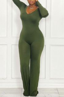 Green Casual Solid Split Joint V Neck Straight Jumpsuits(Without Belt)