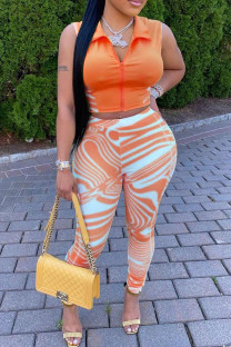 Orange Fashion Casual Striped Vests Pants Zipper Collar Sleeveless Two Pieces
