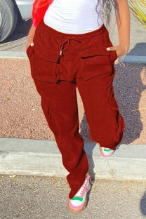 Red Street Solid Split Joint Pocket Straight High Waist Straight Patchwork Bottoms