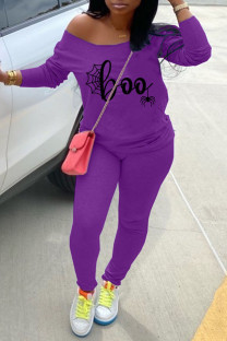 Purple Casual Print Split Joint Off the Shoulder Long Sleeve Two Pieces