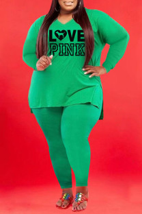 Green Fashion Casual Print Split Joint V Neck Plus Size Two Pieces