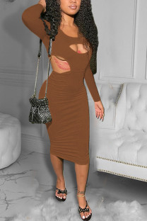 Brown Sexy Solid Hollowed Out O Neck Pencil Skirt Dresses