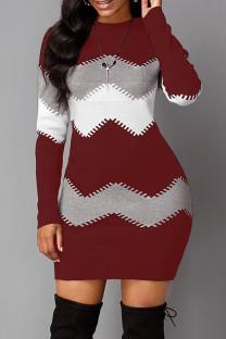 Burgundy Fashion Casual Print Basic O Neck Long Sleeve Dresses
