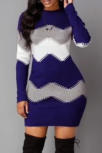 Blue Fashion Casual Print Basic O Neck Long Sleeve Dresses