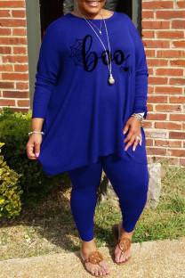 Blue Fashion Casual Print Basic O Neck Plus Size Two Pieces