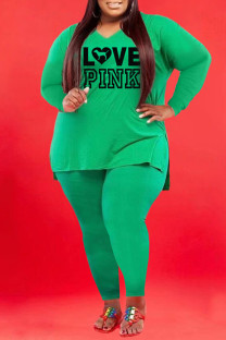 Green Fashion Casual Letter Print Slit V Neck Plus Size Two Pieces