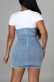 Light Blue Fashion Casual Patchwork Bandage O Neck Short Sleeve Dress