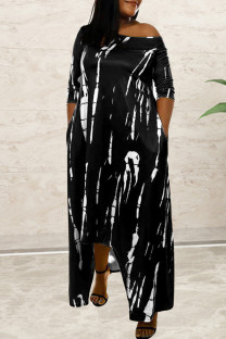 Black Fashion Casual Print Asymmetrical O Neck Long Sleeve Dresses