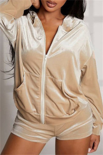 Khaki Fashion Casual Solid Basic Hooded Collar Long Sleeve Two Pieces