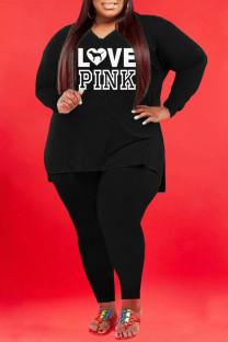 Black Fashion Casual Print Split Joint V Neck Plus Size Two Pieces