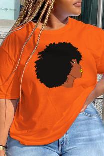 Orange Daily Cute Print Split Joint O Neck T-Shirts