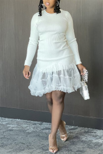 White Fashion Sexy Casual Solid Split Joint Turtleneck Long Sleeve Dresses