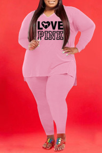 Pink Fashion Casual Letter Print Slit V Neck Plus Size Two Pieces
