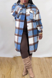 Blue White Fashion Casual Plaid Print Cardigan Turndown Collar Outerwear