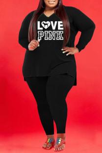 Black Fashion Casual Letter Print Slit V Neck Plus Size Two Pieces